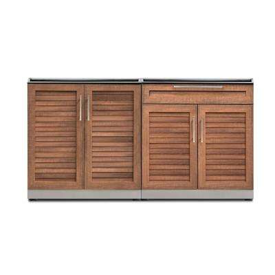 Natural Cherry 2-Piece 64 in. W x 36.5 in. H x 24 in. D Outdoor Kitchen Cabinet Set