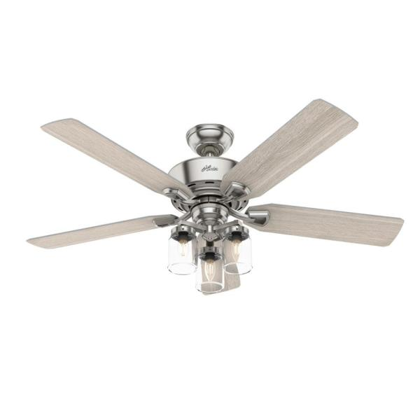Devon Park 52 in. LED Indoor Brushed Nickel Ceiling Fan with Light and Remote Control