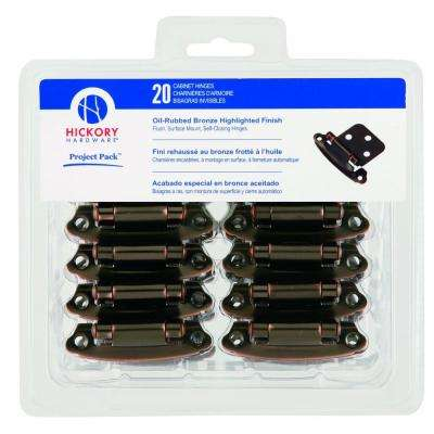 Oil-Rubbed Bronze Surface Self-Closing Flush Hinges (20-Pack)