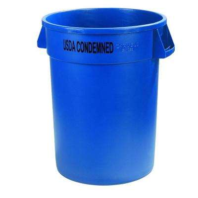 Bronco 32 Gal. Blue Imprinted Round Lidless Recycling Trash Can with USDA Condemned (4-Pack)