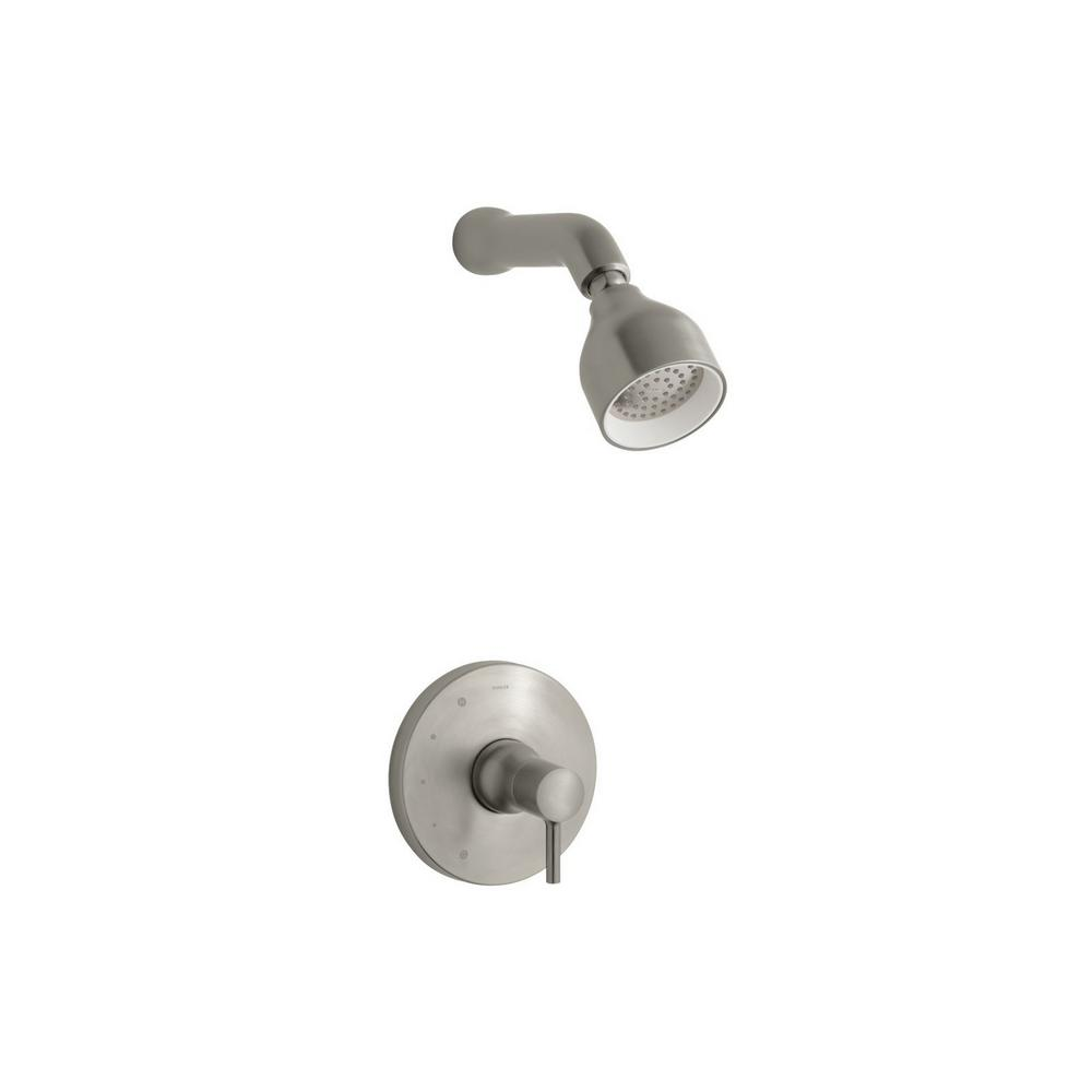KOHLER Toobi 1-Spray 6.5 in. 2.0 GPM Fixed Showerhead with Lever Handle in Brushed Nickel, Vibrant Brushed Nickel