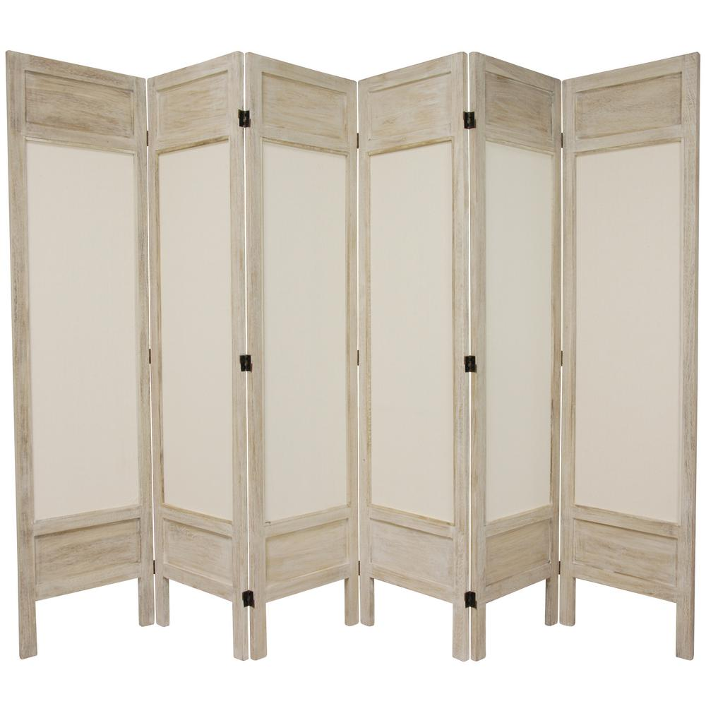 Oriental 6 ft. Burnt White Solid Muslin 6-Panel Room Divider