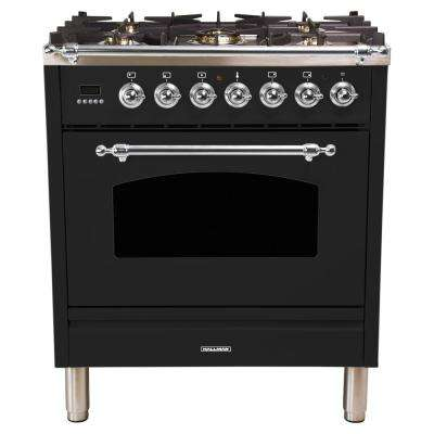 30 in. 3.0 cu. ft. Single Oven Dual Fuel Italian Range with True Convection, 5 Burners, Chrome Trim in Glossy Black