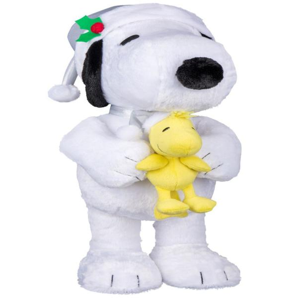 21 in. Tall Holiday Greeter-Snoopy and Woodstock in Silver Santa Hats-OPP-Peanuts