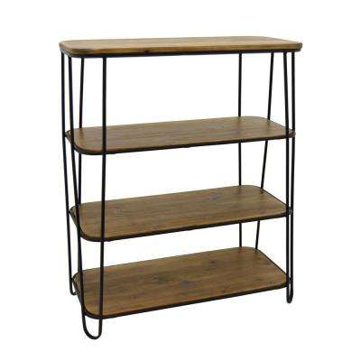 28.75 in. x 13 in. Metal and Wood 3-Tier Rack in Brown