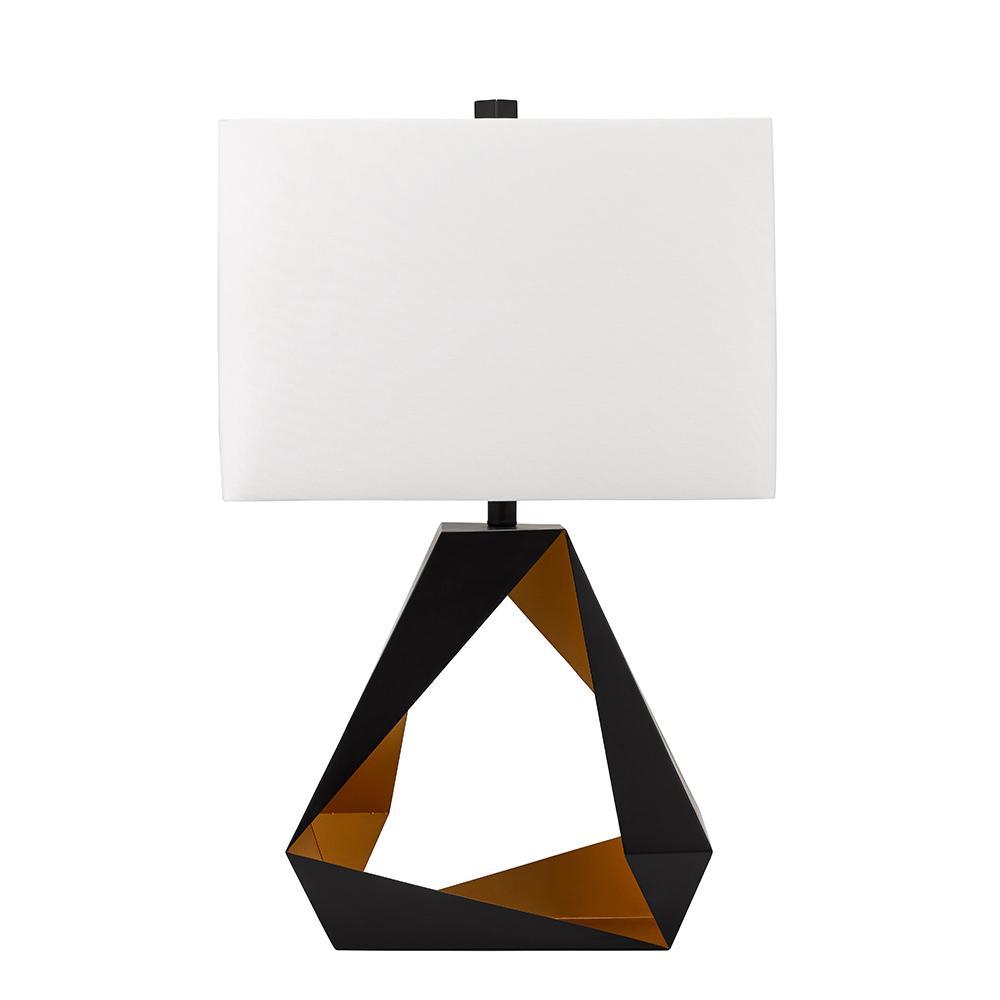 Cresswell 30 in. Matt Black and Gold Mid Century Modern Rectangular Table Lamp and LED Bulb