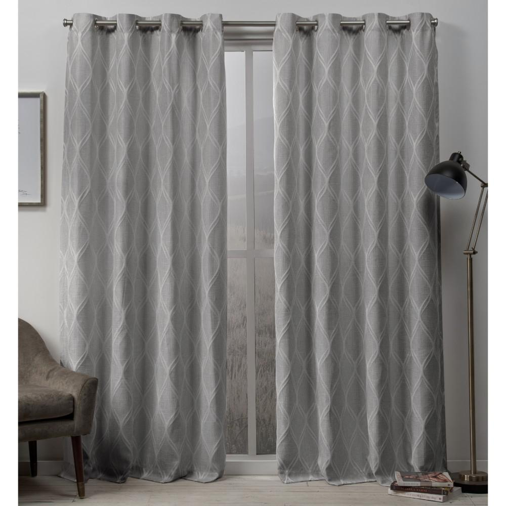 Exclusive Home Curtains Sonos 54 in. W x 96 in. L Woven Blackout Grommet Top Curtain Panel in Dove Grey (2 Panels)