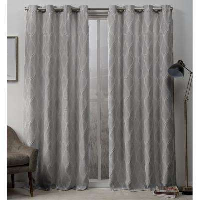 Sonos 54 in. W x 96 in. L Woven Blackout Grommet Top Curtain Panel in Dove Grey (2 Panels)