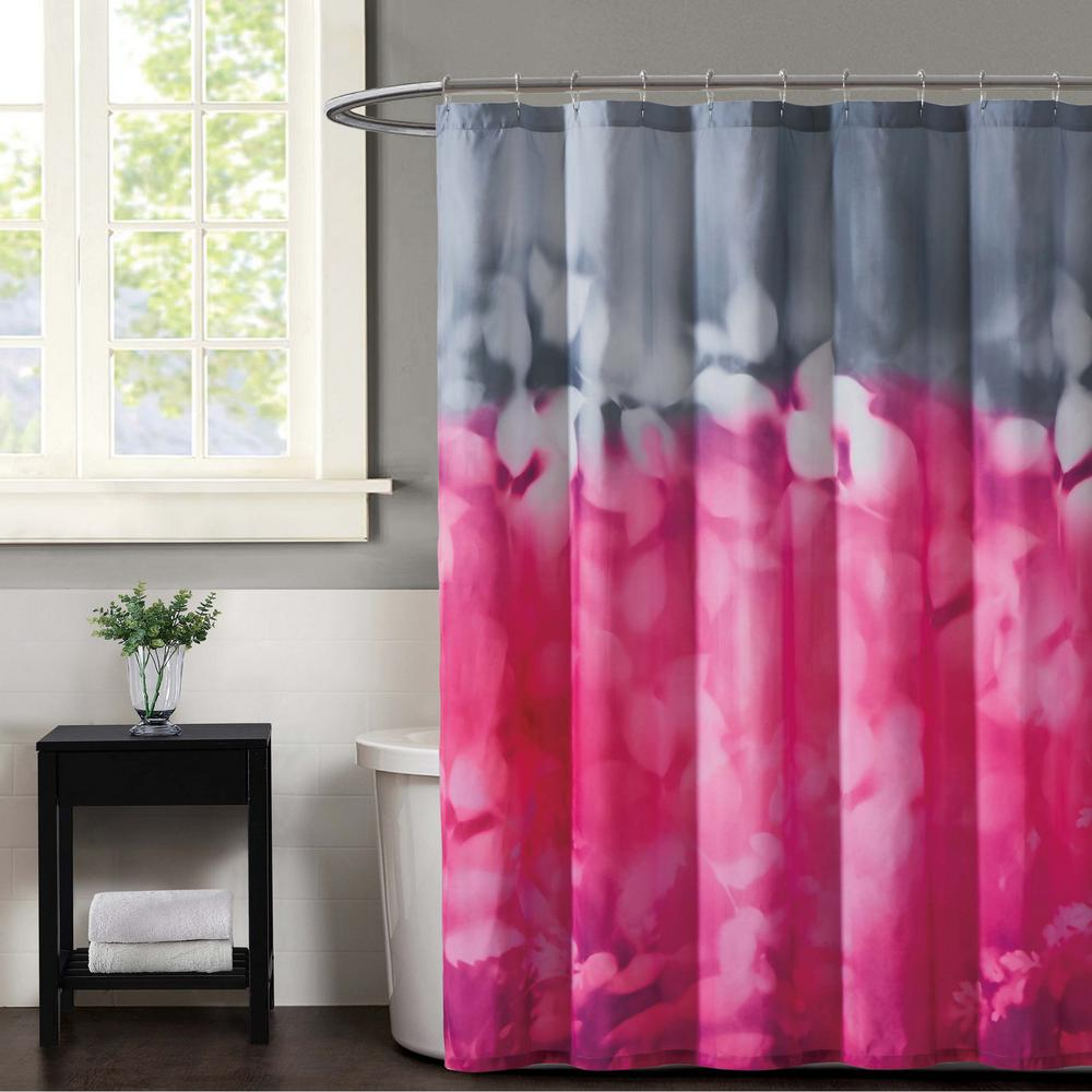 Botanical Magenta and Grey Ombre Shower Curtain