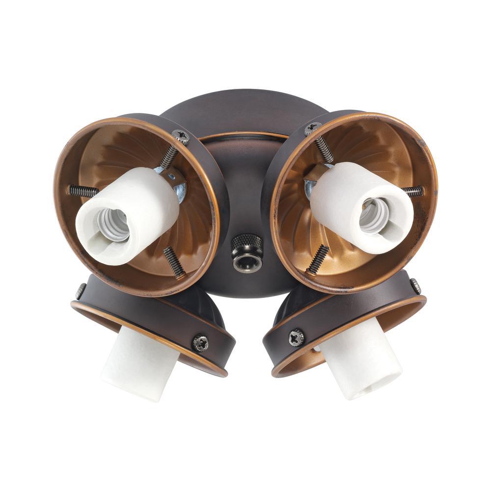 4-Light Roman Bronze Fitter Ceiling Fan Light