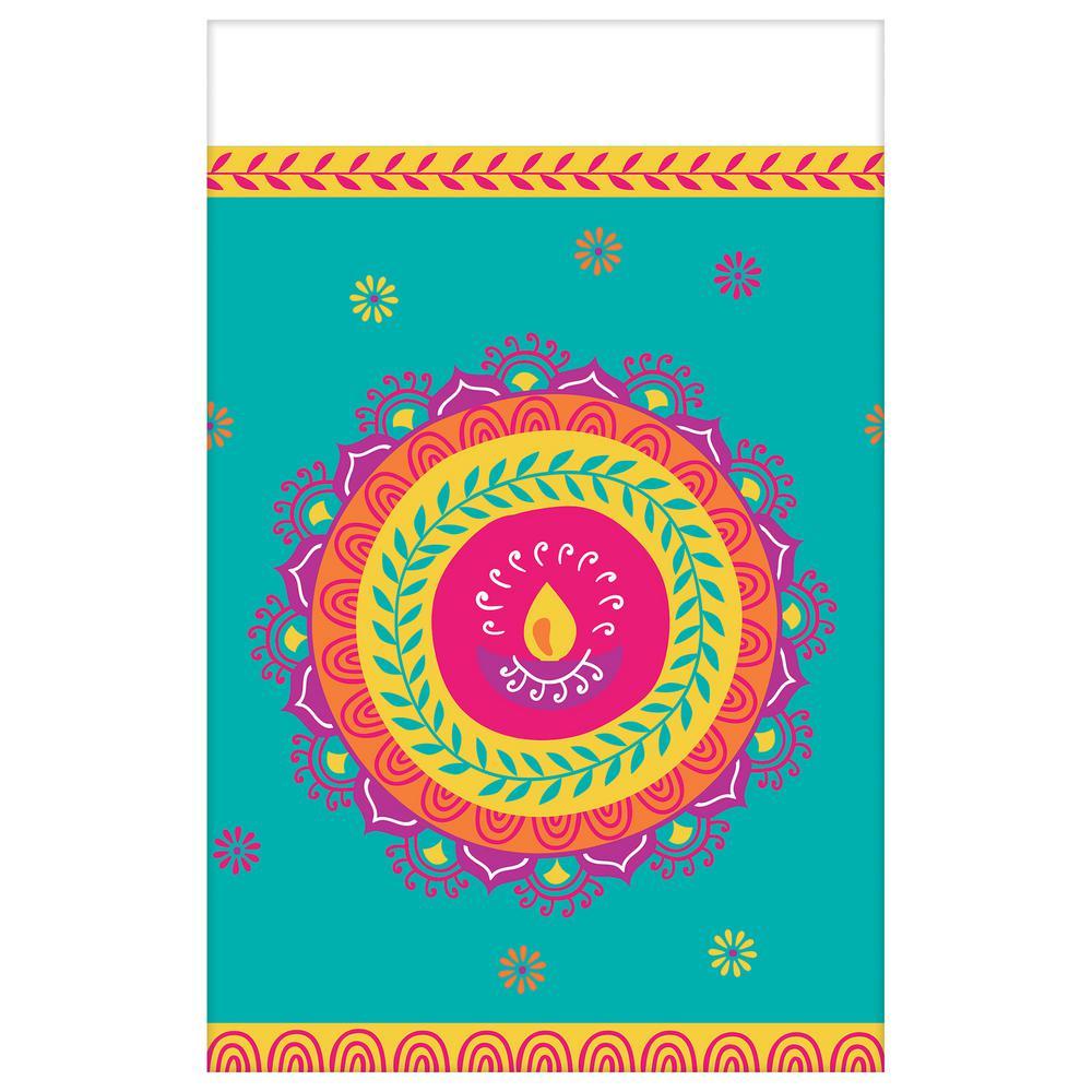 54 in. x 102 in. Multi-Color Plastic Diwali Table Cover (3-Pack)