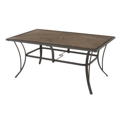 Riverbrook Espresso Brown Rectangular Steel Slat Top Outdoor Patio Dining Table