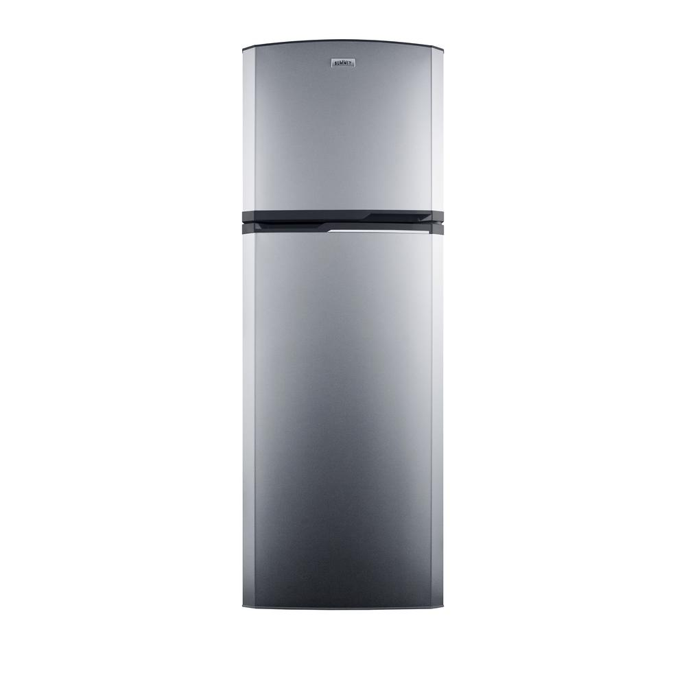 Summit Appliance 8.8 cu. ft. Top Freezer Refrigerator in Stainless Steel (Silver), Counter Depth SUMMIT's thin-line collection of frost-free refrigerator-freezers brings quality and convenience to even the smallest kitchen space. The FF948SSIMLHD offers a full 8.8 cu. ft. capacity inside a slim fit, with a unique curved door design for added style. The fresh food section includes adjustable glass shelves for spill-proof storage and easy cleaning, with a large tilt-out crisper and four door racks to help keep your refrigerator organized. The large freezer section includes a removable wire shelf and two door racks for added convenience. A factory-installed icemaker offers a steady supply of ice cubes. Made in North America, the FF948SSIMLHD includes stainless steel doors with a left hand door swing and a platinum cabinet. NOTE: Because of this unit's curved door style, the FF948SSIMLHD requires an additional 1-3/4 in. of width to open the doors to a full 90. If placing this unit against a right angle wall, be sure to accommodate this extra space.