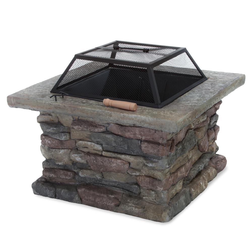 Noble House Corporal 28.50 in. x 22.20 in. Square Natural Stone Fire Pit