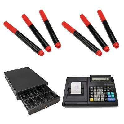 100CX Portable Electronic Cash Register with MCD100 Portable Cash Drawer and BD3 Counterfeit Detector Pens