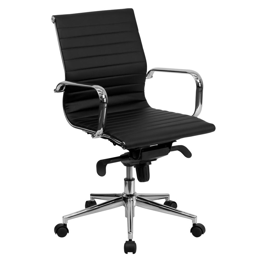 Mid-Back Armless Ribbed Black Leather Swivel Office Or Home Conference Chair CA4