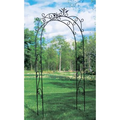 Elegant Handcrafted Tuileries Garden Arbor, 113 in. Tall Graphite Powder Coated Finish
