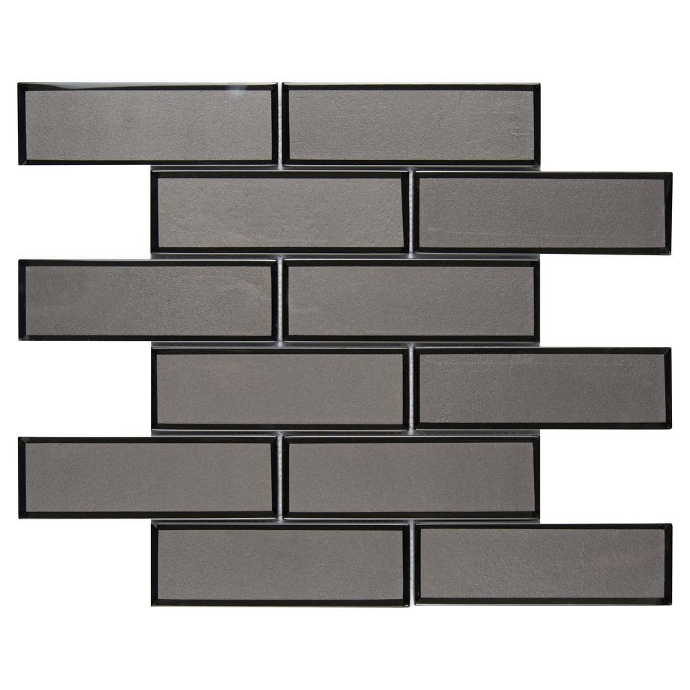 Metallic Gray Bevel Subway 11.73 in. x 11.73 in x 8mm Glass Mesh-Mounted Mosaic Tile