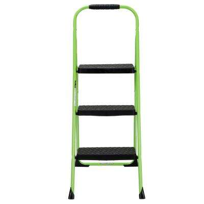 3-Step Steel Big Step Folding Step Stool Type 3 with Rubber Hand Grip in Green