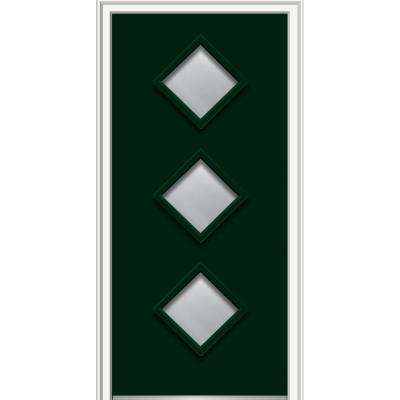 36 in. x 80 in. Aveline Left-Hand Inswing 3-Lite Clear Painted Fiberglass Smooth Prehung Front Door, 4-9/16 in. Frame