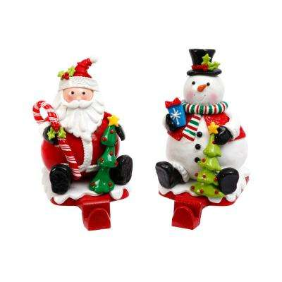 S/2 Snowman and Santa Stocking Holders