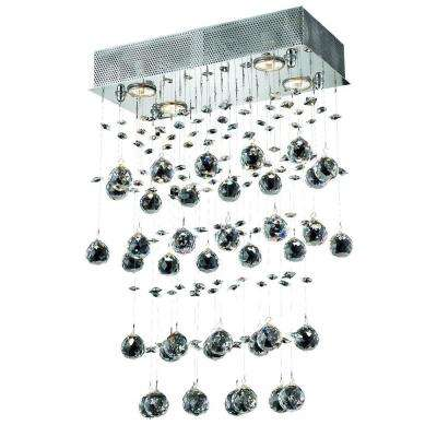 4-Light Chrome Chandelier with Crystal Clear
