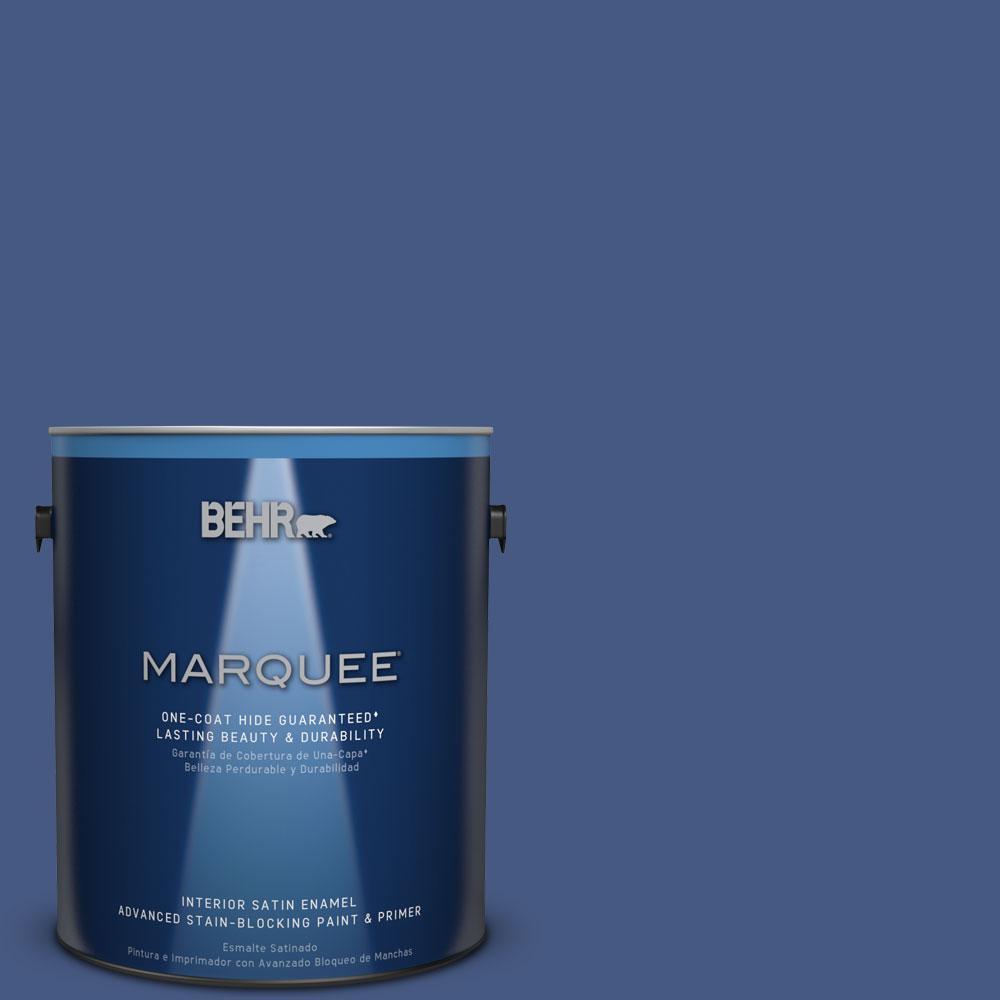 1 gal. #M540-7 Optimum Blue One-Coat Hide Satin Enamel Interior Paint