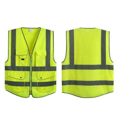 Large Yellow 7-Pockets Class 2 High Visibility Zipper Front Safety Vest with Reflective Strips