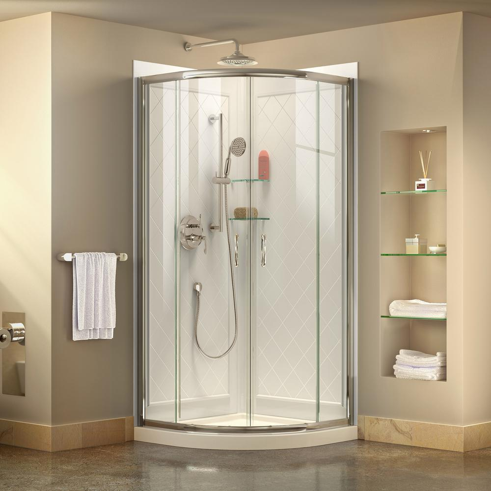DreamLine Prime 33 in. x 33 in. x 76.75 in. H Corner Semi-Frameless Sliding Shower Enclosure in Chrome with Base and Back Walls