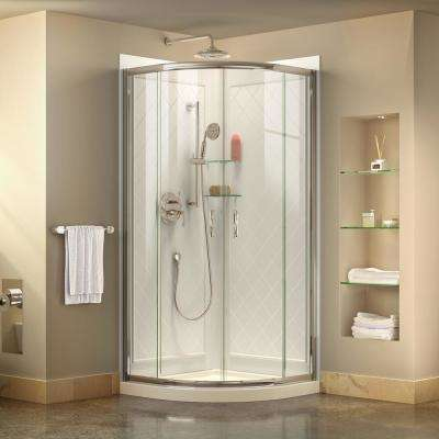 Prime 33 in. x 33 in. x 74.75 in. H Corner Semi-Frameless Sliding Shower Enclosure in Chrome with Base and Back Walls