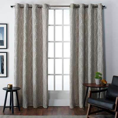 Finesse 54 in. W x 84 in. L Jacquard Grommet Top Curtain Panel in Natural (2 Panels)