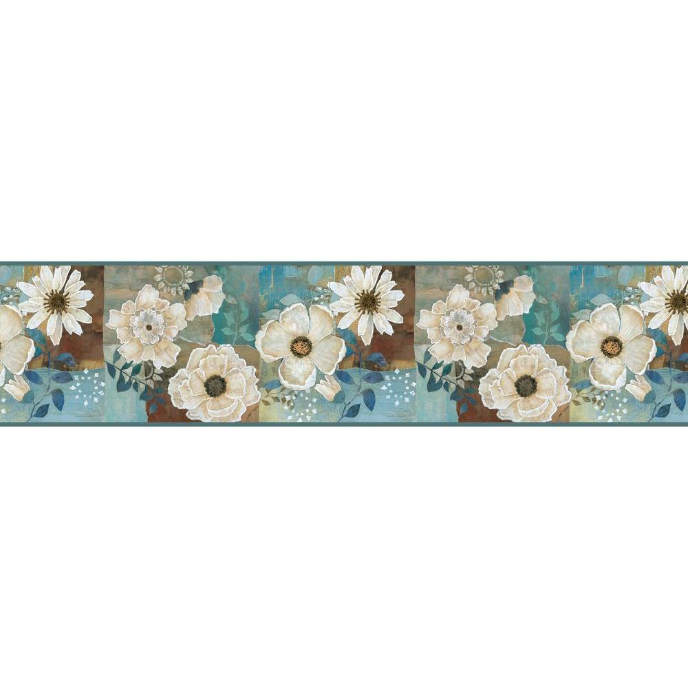 Septimus Blue Gardenia Wallpaper Border Sample