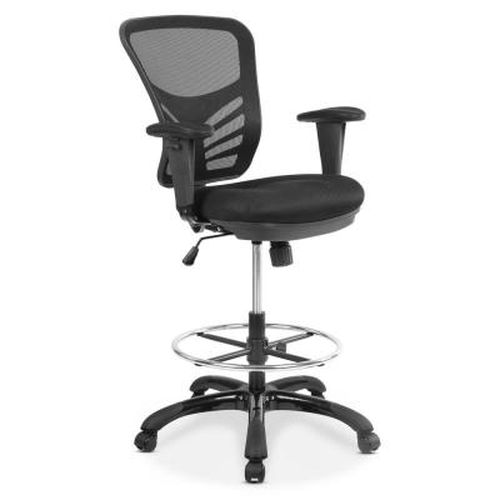 Edgemod Brighton Black Drafting Chair With Vegan Leather Seat