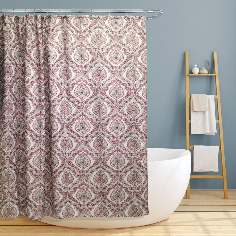 Rose 70 In Burgundy Paisley Damask Canvas Shower Curtain