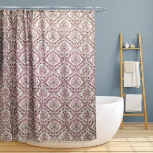 Rose 70 inch Burgundy Paisley Damask Canvas Shower Curtain by