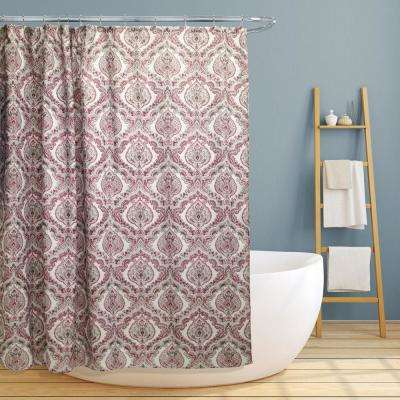 Rose 70 in. Burgundy Paisley Damask Canvas Shower Curtain