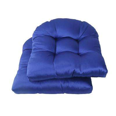 Blue Square Tufted Outdoor Seat Cushion (2-Pack)