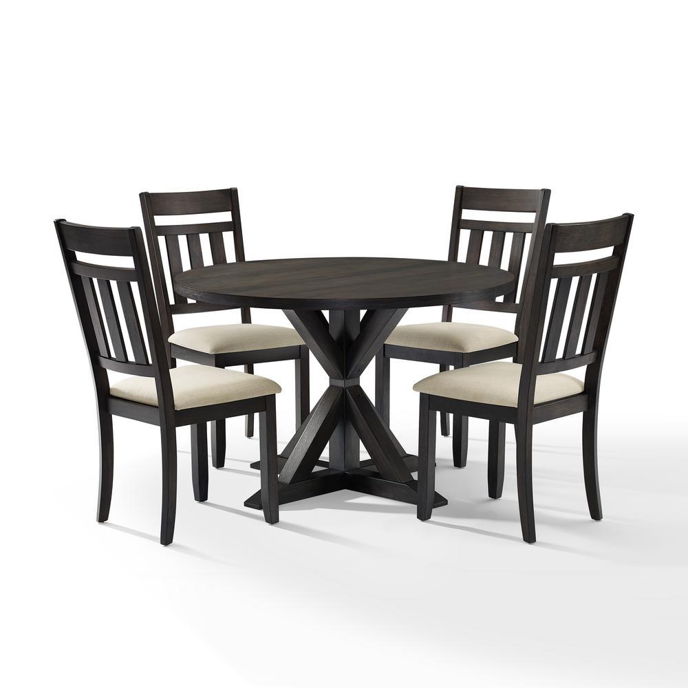 Crosley Furniture Hayden 5 Piece Slate Round Dining Set Kf13027sl The Home Depot