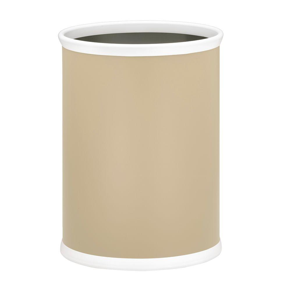 Bartenders Choice Fun Colors Ivory 13 Qt. Oval Waste Basket