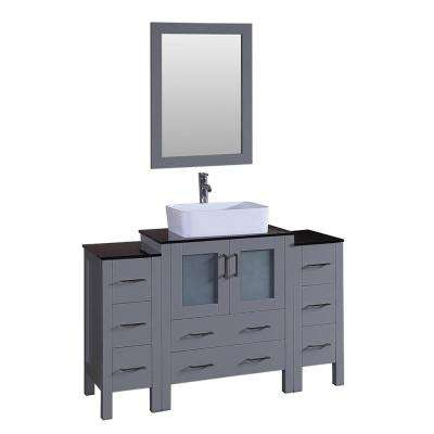 Bosconi 54 in. Single Vanity in Gray with Vanity Top in Black with White Basin and Mirror