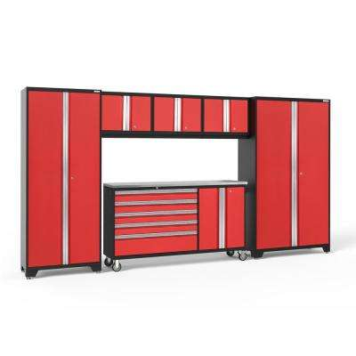 Bold 3.0 77.25 in. H x 206 in. W x 18 in. D 24-Gauge Welded Steel Stainless Steel Worktop Cabinet Set in Red (6-Piece)