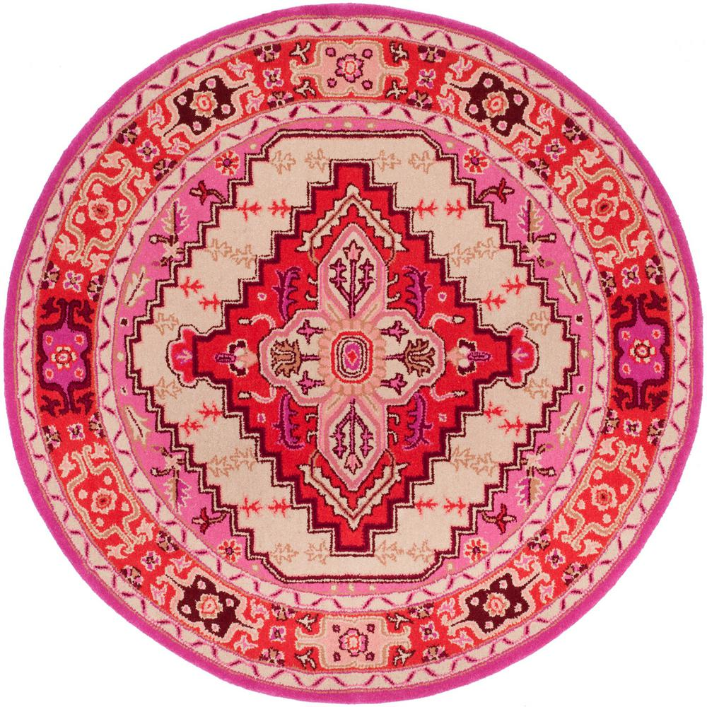 Safavieh Bellagio Red Pink/Ivory 5 Ft. X 5 Ft. Round Area