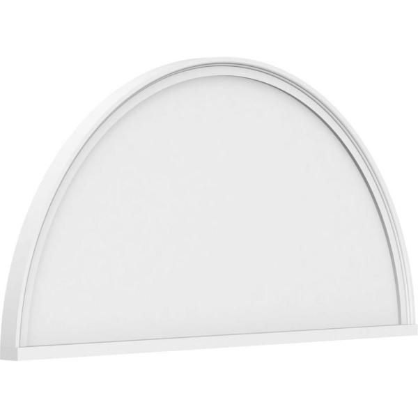 2 in. x 74 in. x 37 in. Half Round Smooth Architectural Grade PVC Pediment Moulding
