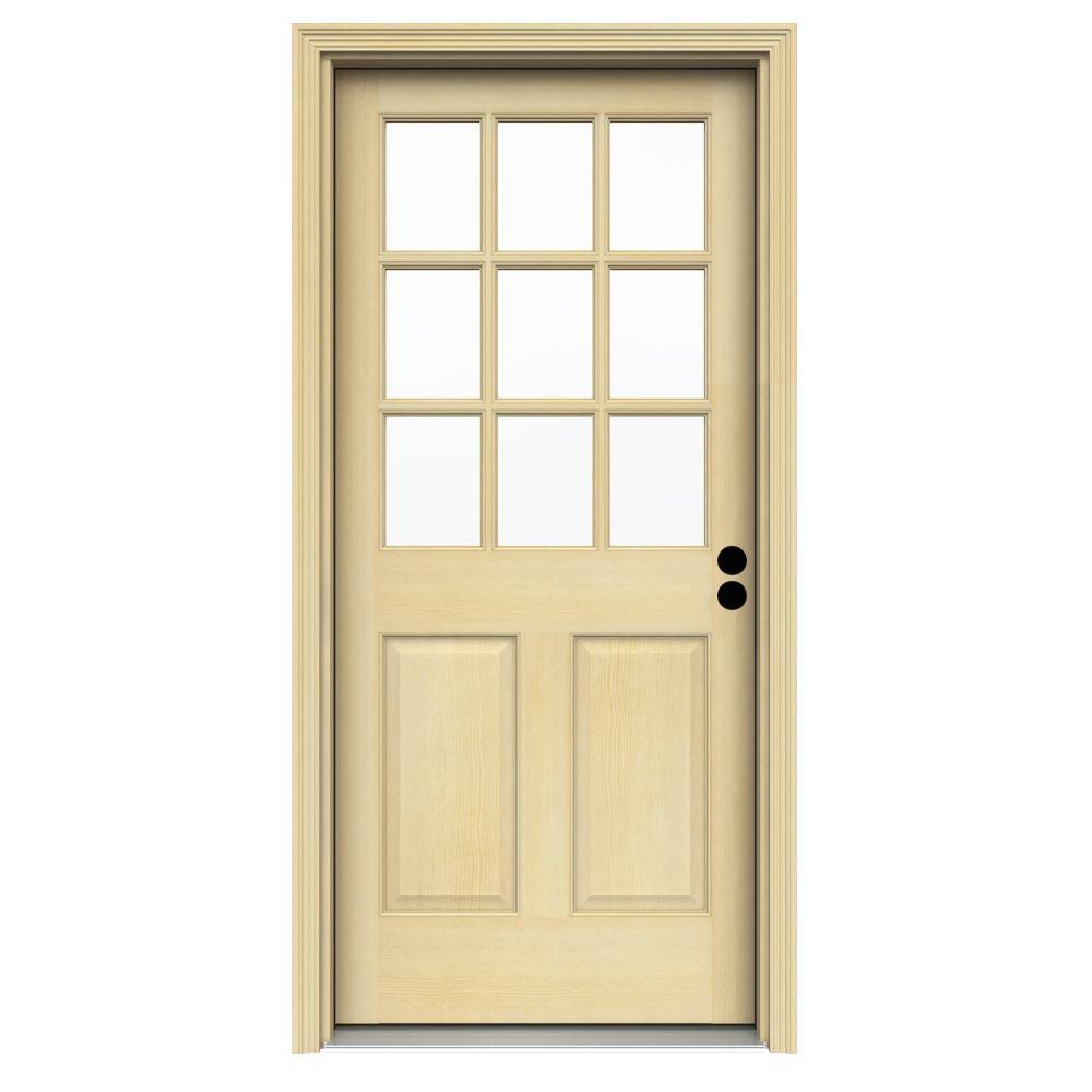 36 in. x 80 in. 9-Lite Unfinished Fir Prehung Front Door