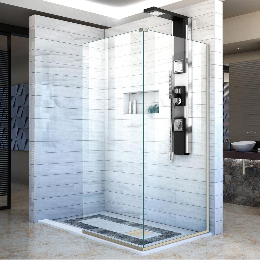DreamLine Linea 34 in. x 34 in. x 72 in. Semi-Frameless Corner Fixed ...