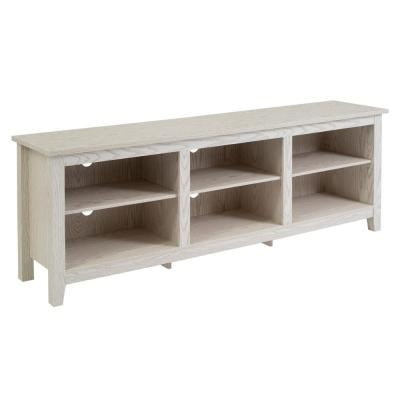 Columbus 70 in. White Wash Wood TV Stand 70 in. with Adjustable Shelves