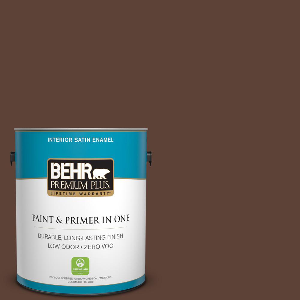 BEHR Premium Plus 1-gal. #180F-7 Warm Brownie Zero VOC Satin Enamel Interior Paint