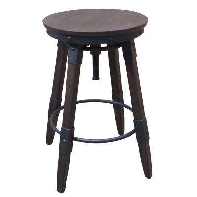15.75 in. Distressed Chocolate Vintage Industrial Style Swivel Backless Barstool