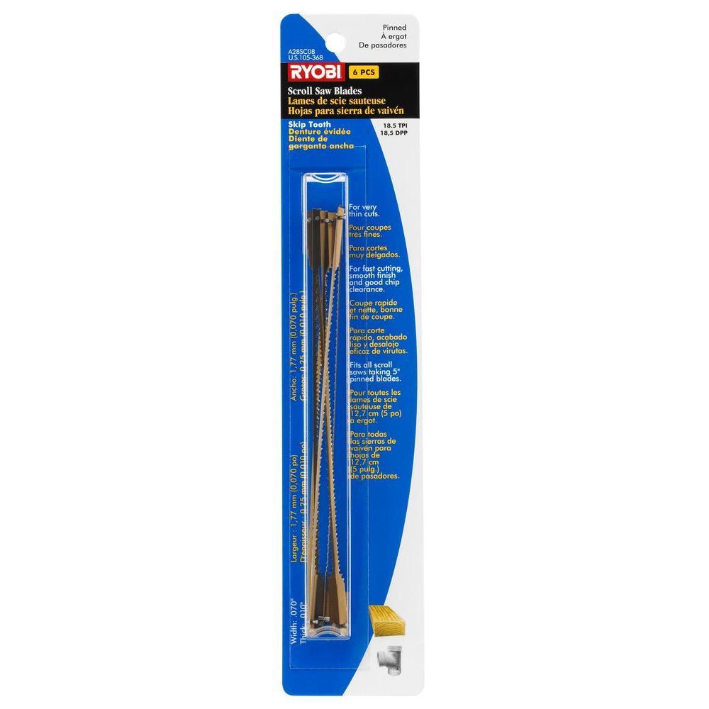 5 in. x 18-1/2 TPI Skip Pinned Scroll Saw Blades (6-Pack)