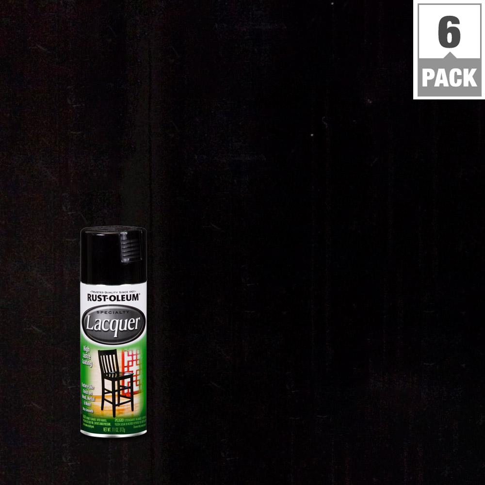 11 oz. Gloss Black Lacquer Spray Paint (6-Pack)
